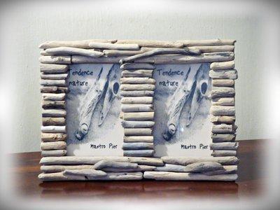 Porta foto doppio con legni di mare