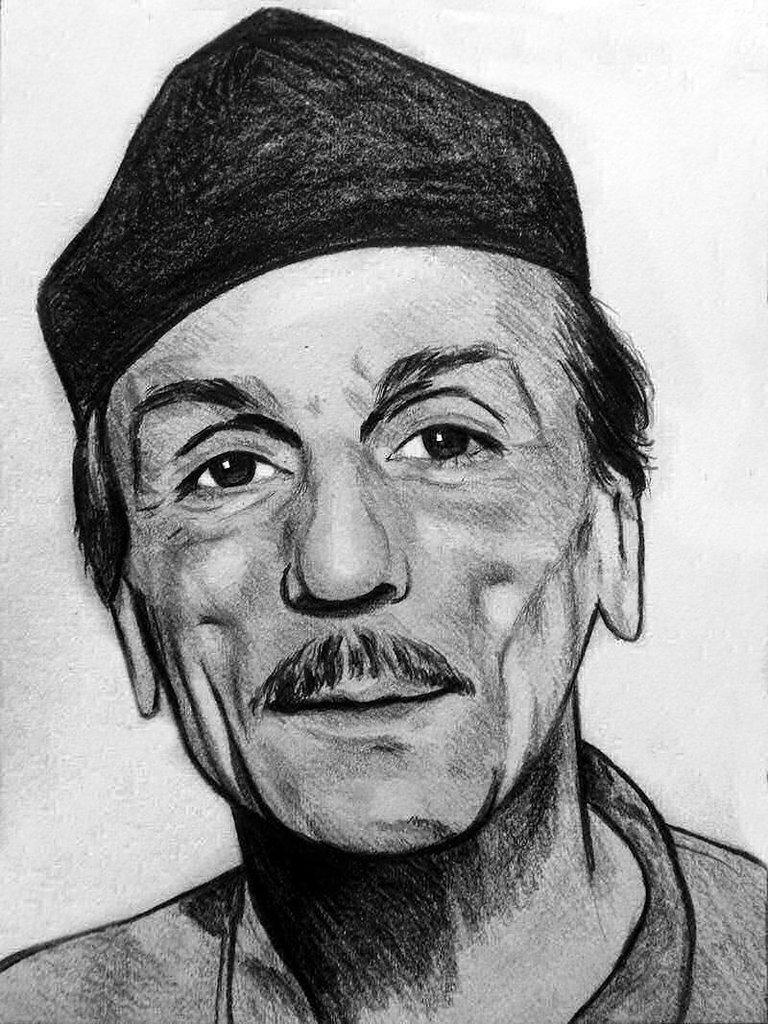 Ritratto Eduardo De Filippo carboncino su carta