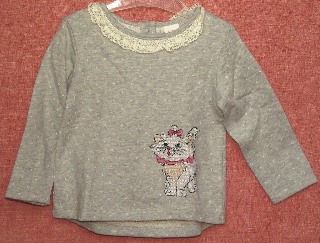 maglietta grigia con gattino