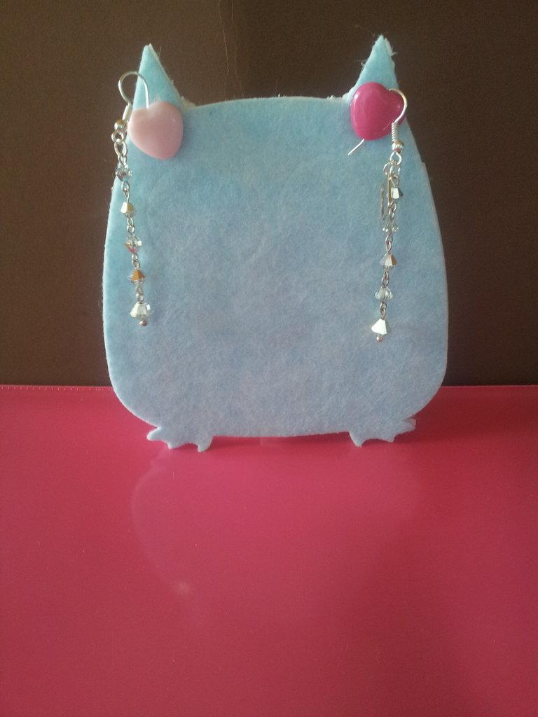 Orecchini pendenti modello Chiara argentati con mezzi cristalli vetro trasparente fatti a mano