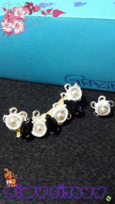 """Orecchini Ear-Cuff   Modello: """"Black Diamond"""""""