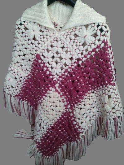 Poncho in lana bicolore