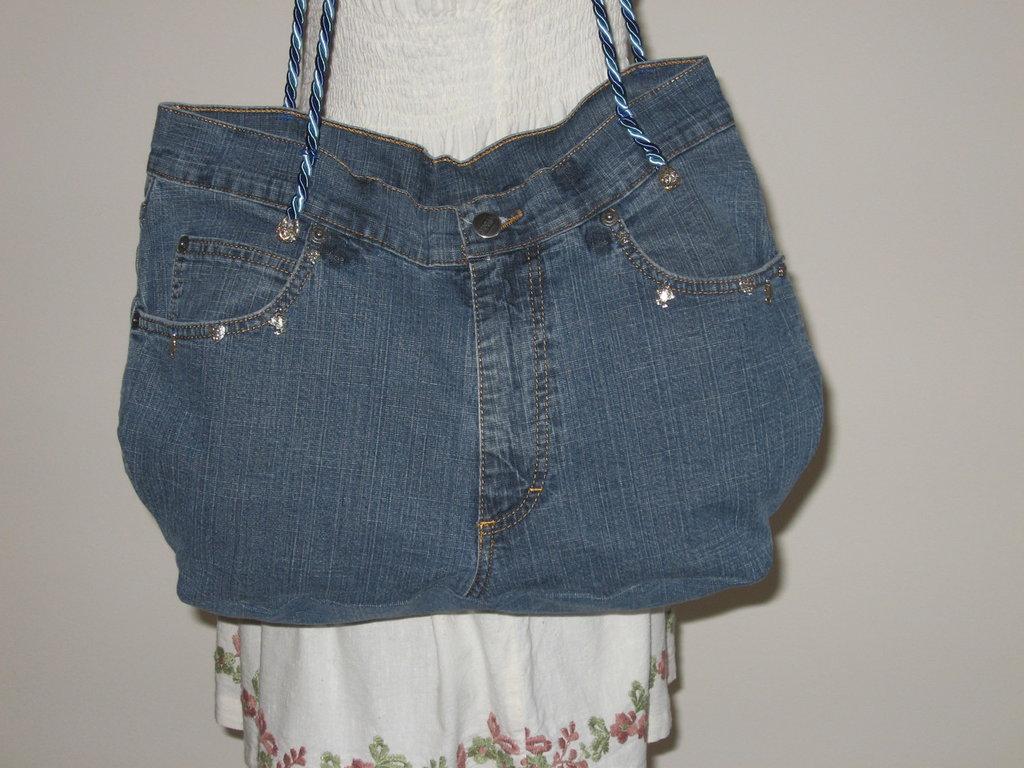 rosa su Borse fatto di blu in amore jeans borsa con Donna qP4RRw