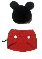 Vestito Carnevale Topolino per neonato, copripannollino e cappellino in lana