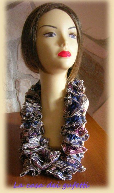 Sciarpa foulard realizzata con lana moda multicolor con paillettes