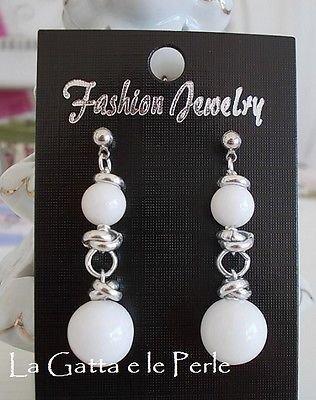 Orecchini con perle in Giada Bianca