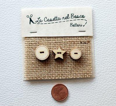 Set 3 bottoni in legno 'Tondi e Stella'