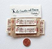 Set 4 etichette in cotone 'Fatto a mano'