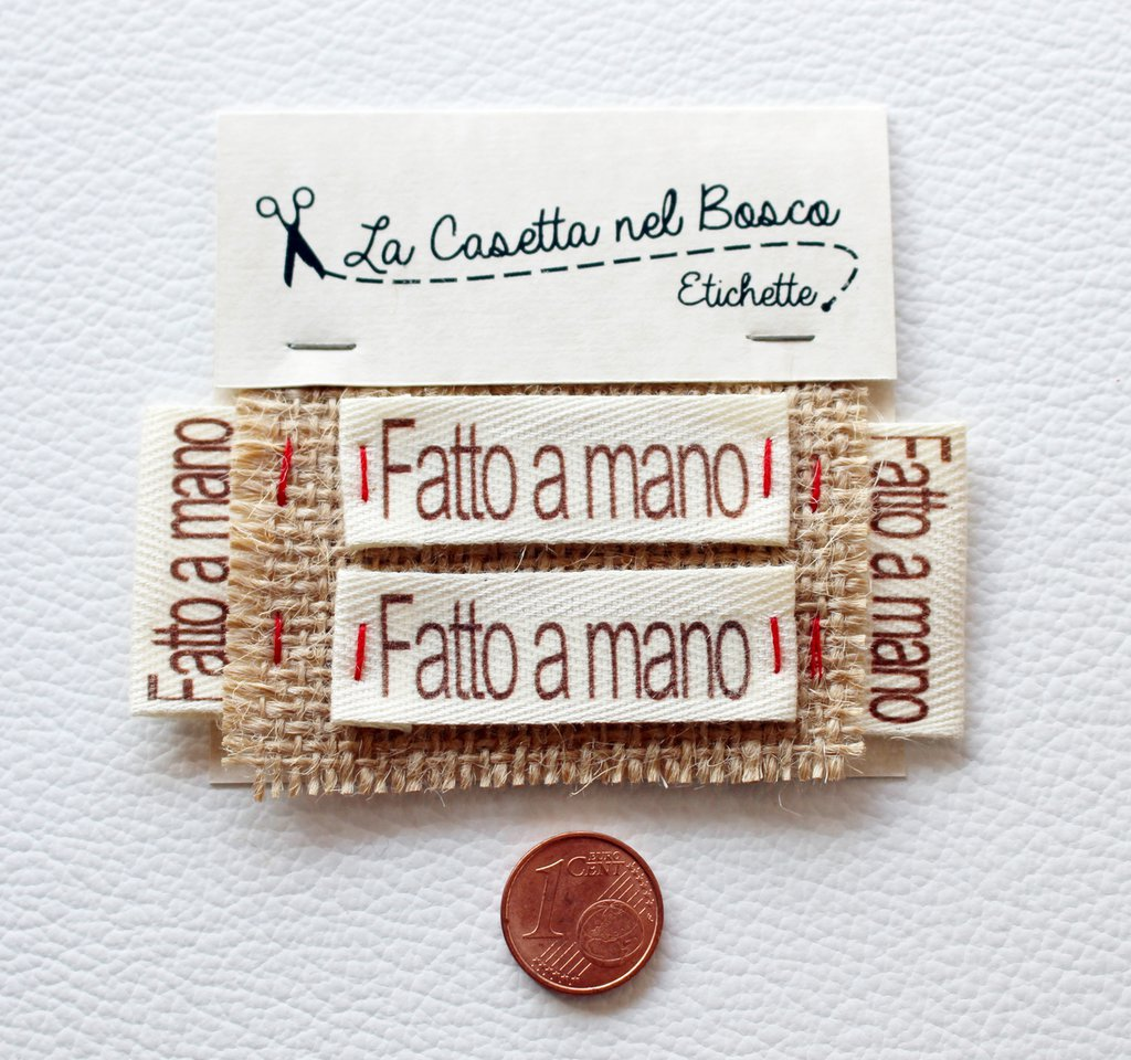 Preferenza Set 4 etichette in cotone 'Fatto a mano' - Materiali - Materiali  BP81
