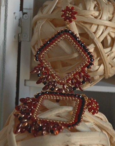 Orecchini Elegance Rombi Red&Black
