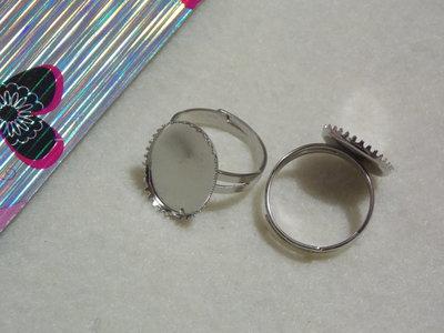 Base anello per cabochon ovale col.argento