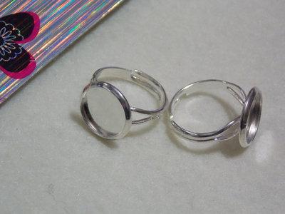 Anello con base per cabochon tondo col.argento