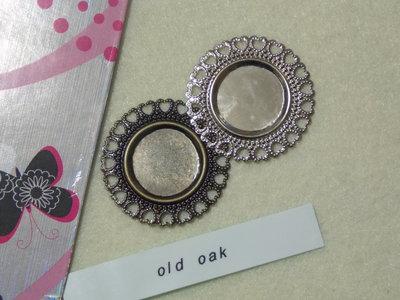 Medaglione rotondo argento lucido/bronzo antico per cabochon