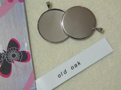 Base rotonda per cabochon, color argento lucido mm.25
