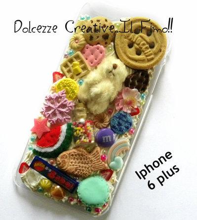 Cover IPhone 6/6s Plus orso, kawaii, caramelle, cute, pastel goth, cioccolato, ringo, cookie, waffle, japanese dessert