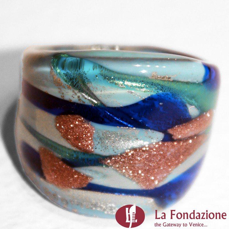 Fedina Fascia Mare - Anello in vetro di Murano