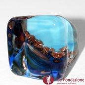 Cubo Calcedonio Cristal Blu - Anello in vetro di Murano