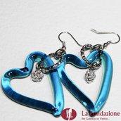 Orecchini Cuore in vetro di Murano con punto luce - Blu