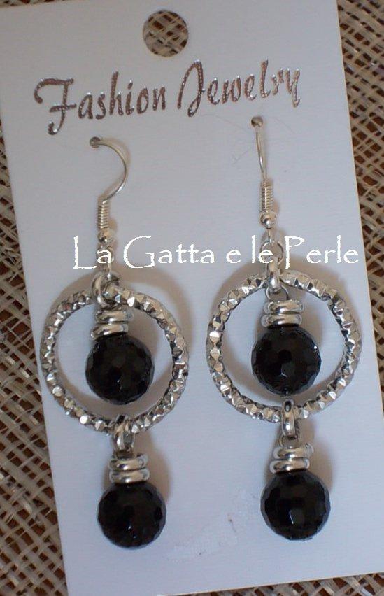 Orecchini con doppia perla in Onice Nero Sfaccettato