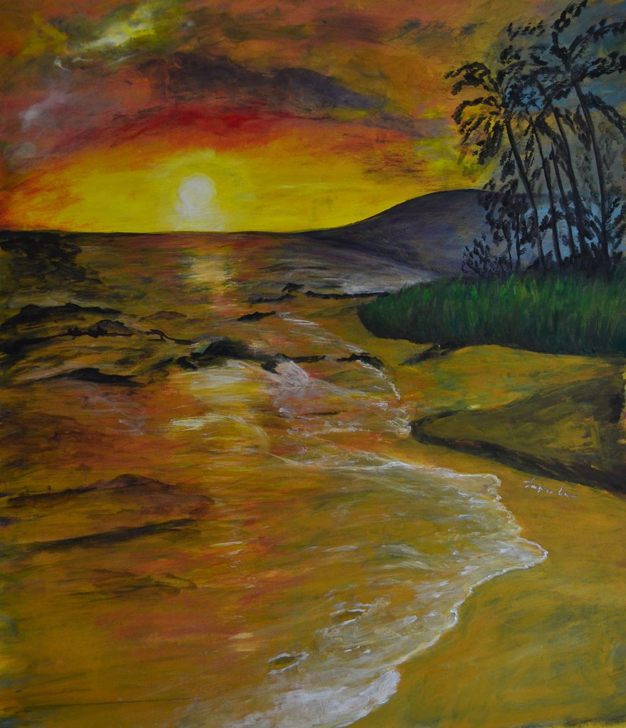 """Alba sull'isola"" - Dipinto a mano"