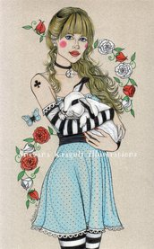 Alice-Original Fine Art Drawing- disegno originale,fashion inspiration