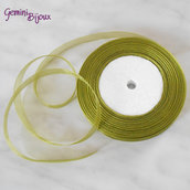 Lotto 1 mt. nastro organza 10mm verde oliva