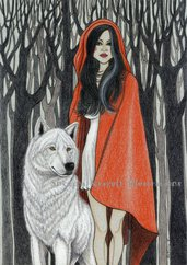 Red Riding Hood-Original Fine Art Drawing-disegno originale, ispirazione fiabesca