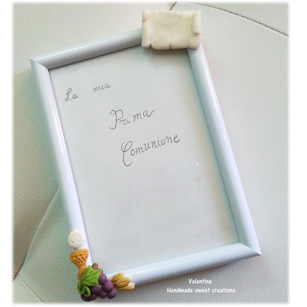 Bomboniera portafoto Comunione Bibbia Eucarestia con fiore, cuore o pergamena
