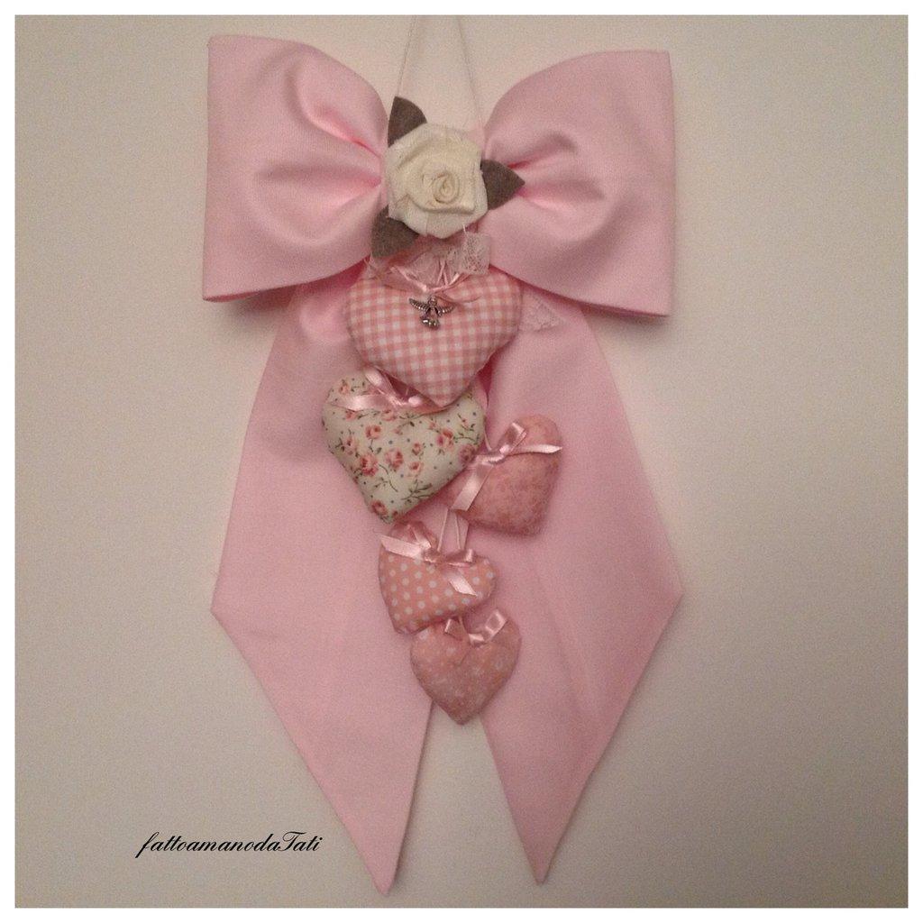 Fiocco nascita in piquet di cotone rosa con cuori imbottitti