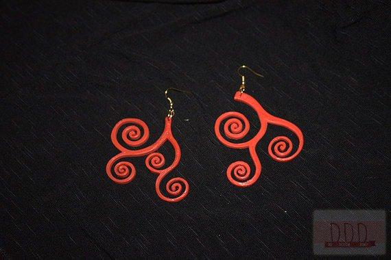 Orecchini Klimt in Acido Poliattico (PLA) e metallo Rosso assemblati a mano