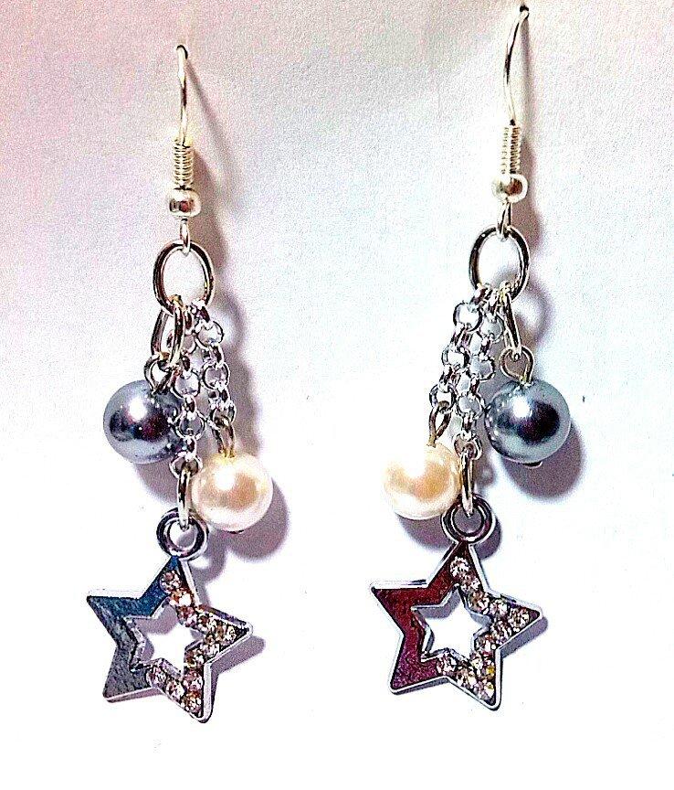 orecchini pendenti  stelle e perle