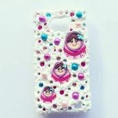 cover custodia mascherina per galaxy s2 e s2 plus con baby matrioska rosa fuxia con strass e perle