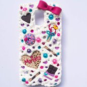 cover custodia mascherina per galaxy s5 con fiocco e Dolcini vari ciambella leccalecca biscotto a cuore con nome personalizzato