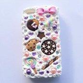 cover  custodia mascherina per iphone 5c con fiocchetto rosa e Dolcini vari strass perle effetto torta