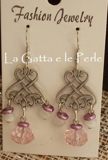 Orecchini chandelier con Mezzo Cristallo Rosa e Perle Occhi di Gatto