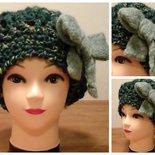 baschetto di lana verde melange