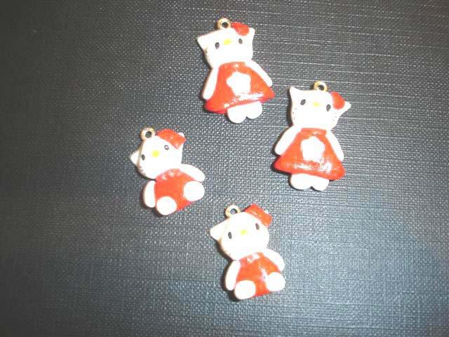 Hello Kitty corpo intero con vestitino rosso  - inspired - Ciondolo charms per orecchini bracciali braccialetti collana - FIMO UNO A SCELTA