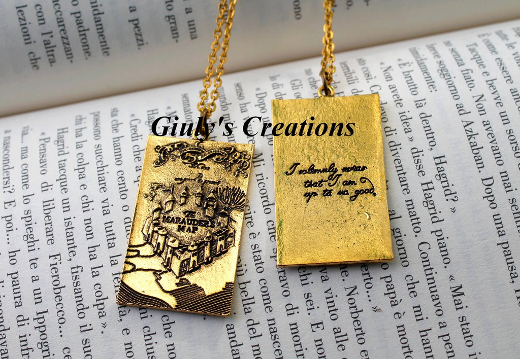 Collana MAPPA DEL MALANDRINO di Harry Potter Marauder's Map Hogwarts Azkaban HP