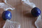 collana perle in ceramica raku blu