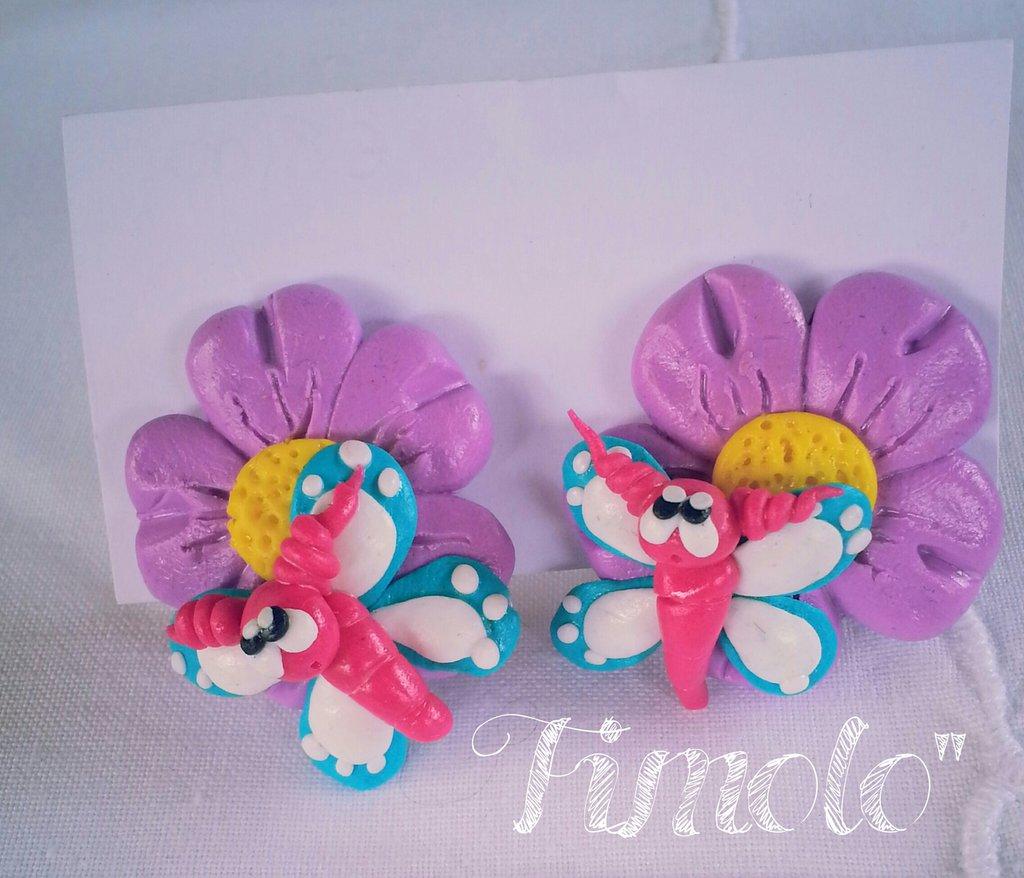orecchini a clip fiore e farfallina