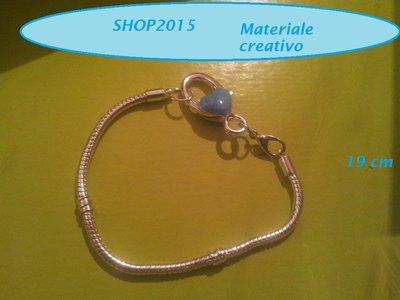 bracciale snake  19 cm per perle a foro largo con moschettone grande smaltato celeste