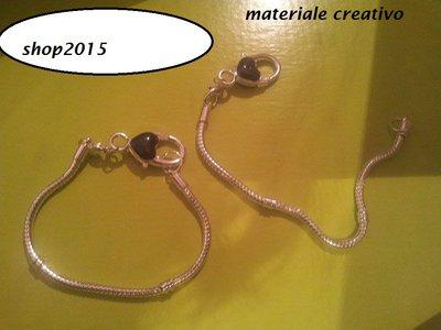 bracciale snake  19 cm per perle a foro largo con moschettone grande smaltato Nero