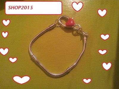bracciale snake  19 cm per perle a foro largo con moschettone grande smaltato ROSSO