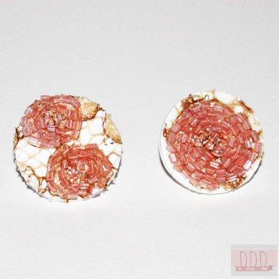 Orecchini Acido Poliattico (PLA) con Pizzo e Perline Rosa