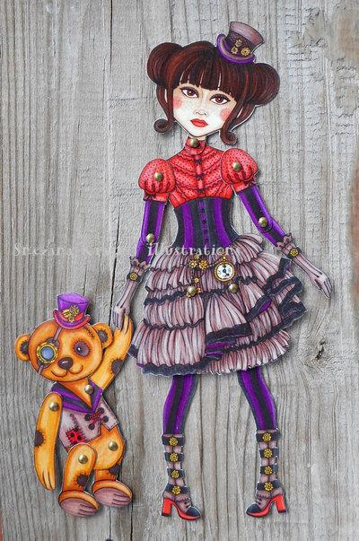 Steampunk and teddybear-Paper doll