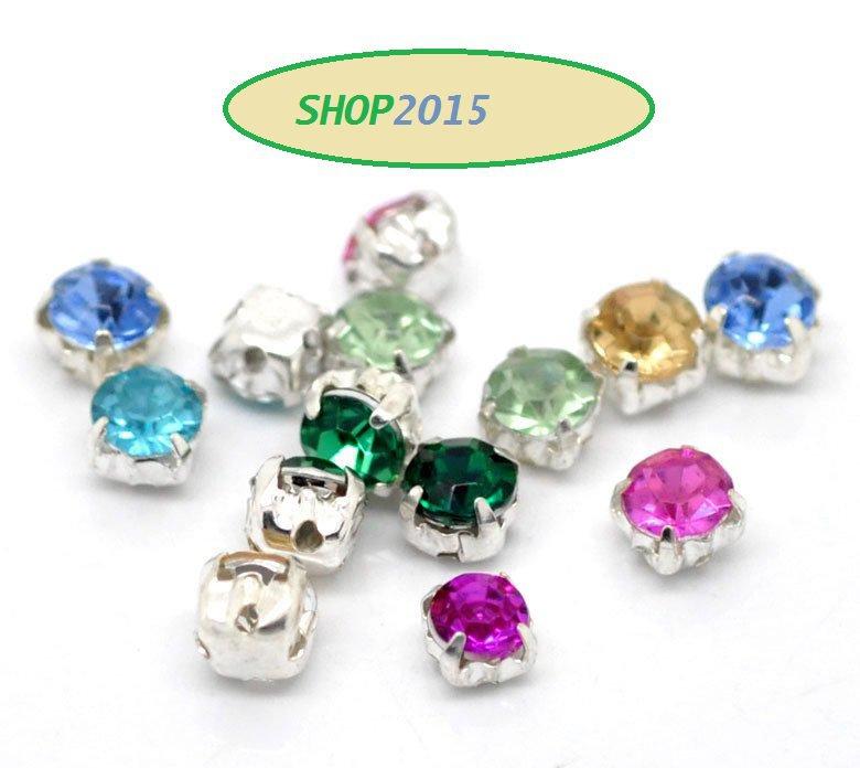 10 distanziatori perle strass colori mix 5X5 mm