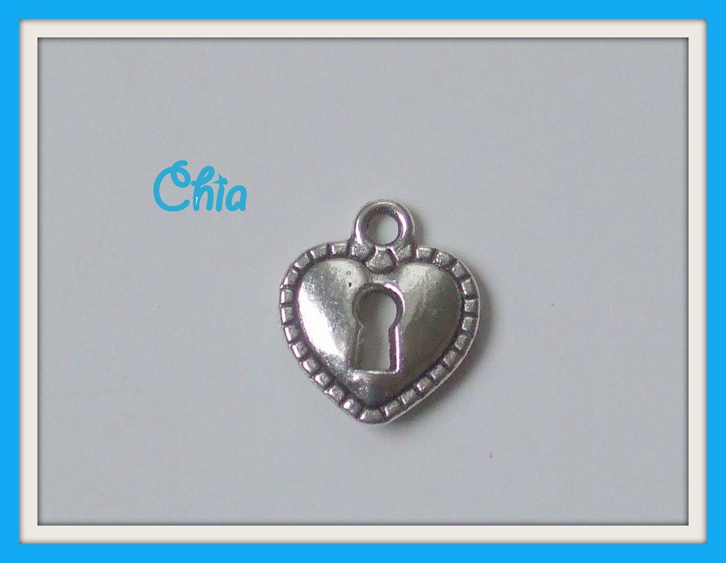 10 charms cuore lucchetto / serratura 16x14mm