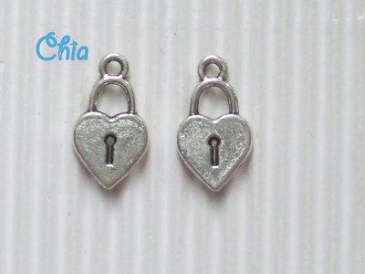 8 charms cuore serratura 19x10mm