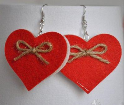 Orecchini cuore double face in feltro