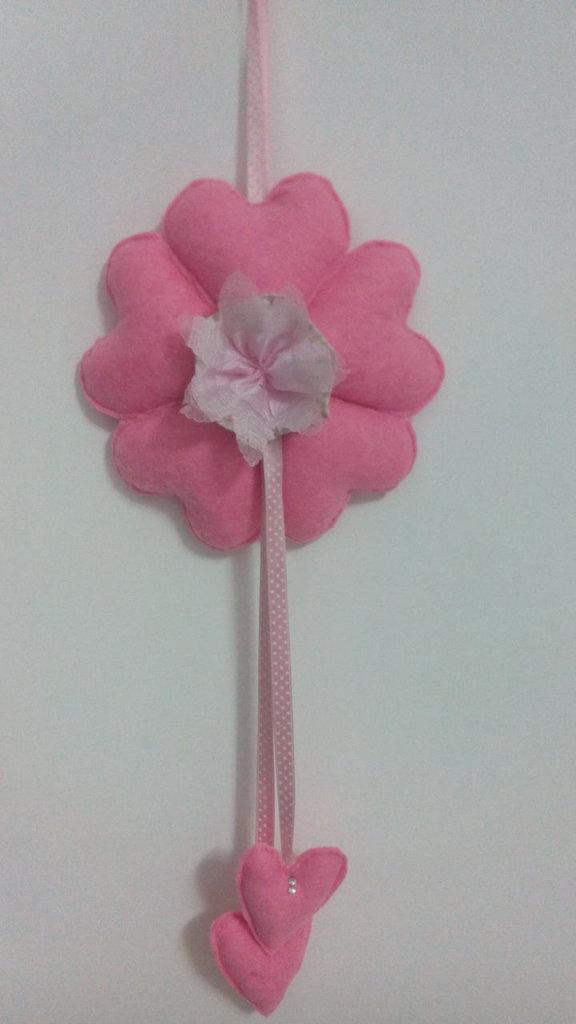 Fiocco nascita in feltro rosa tipo fiore con strass